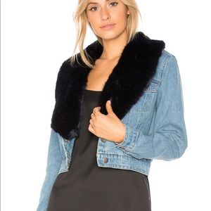 Denim Jacket w/ Faux Fur Collar